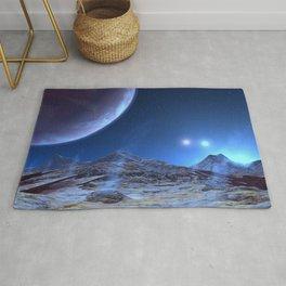 Extraterrestrial Landscape : Galaxy Planet Blue Rug