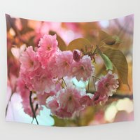 cherry blossoms Wall Tapestries featuring Cherry Blossoms by Judy Palkimas