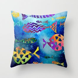Cosmic Sparkly Fish Under Water Watercolor Throw Pillow