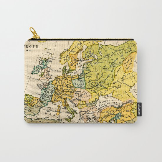 Europe in 1135 - Vintage Map Collection Carry-All Pouch