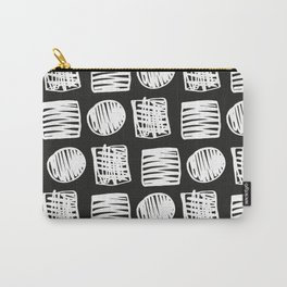 Modern hand drawn black white brushstrokes squares dots geometrical Carry-All Pouch