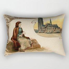 Mechelen lace making litho ca 1900 Rectangular Pillow