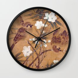 Sparrows, plum blossoms, and bamboo Wall Clock