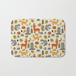 Woodland foxes rabbits deer owls cute pattern by andrea lauren Bath Mat
