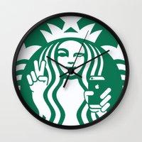 starbucks Wall Clocks featuring Selfie - 'Starbucks ICONS' by Alejo Malia