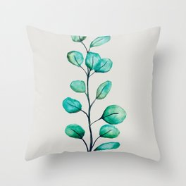 Green eucalyptus Throw Pillow