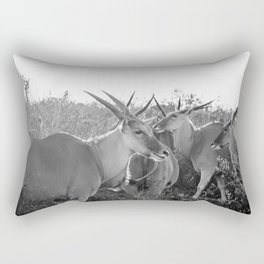 Herd of Eland stand in tall grass in African savanna Rectangular Pillow