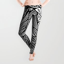 Polynesian Tribal Tattoo Black White Floral Design Leggings