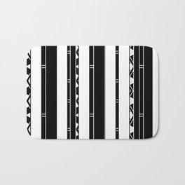 Minimalist Modern stripes black white Bath Mat