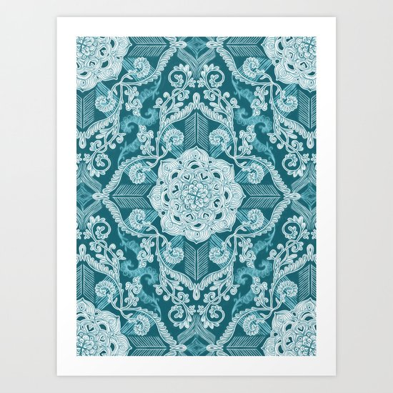 Centered Lace - Teal  Art Print
