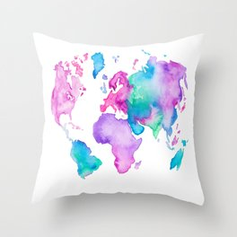 Modern world map globe bright watercolor paint Throw Pillow