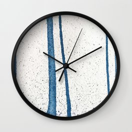 Parallel Universe [vertical]: a pretty, minimal, abstract piece in lines of vibrant blue and white Wall Clock