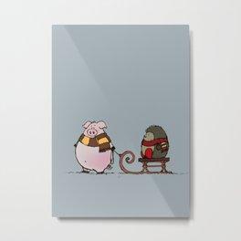Pig and hedgehog Metal Print