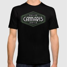 Cannabis Art Deco Mens Fitted Tee Black MEDIUM