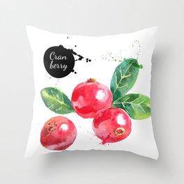 Watercolor Cranberries Throw Pillow
