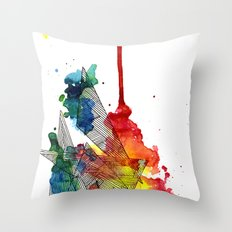Watercolor and Fine Liner Triangles Throw Pillow