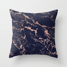 Modern chic navy blue rose gold marble pattern Throw Pillow