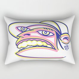 Skateboard Kid with Big Mouth and Crazy Eyes, Wearing Trucker Hat Rectangular Pillow
