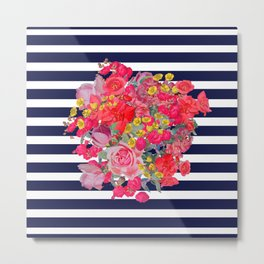 Vintage Floral Burst Print with Navy Stripes Metal Print