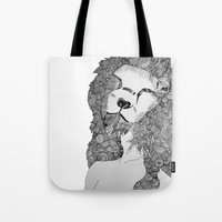lions Tote Bags featuring Lions by Zora Chen