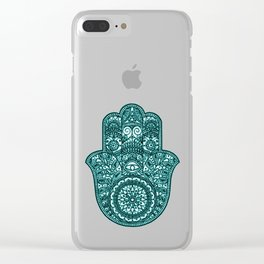 Neon Hamsa Hand - turquoise Clear iPhone Case