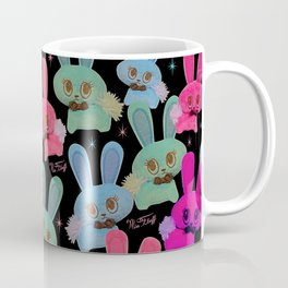 Cute Bunnies on Black Coffee Mug