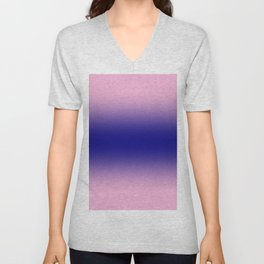 Cotton Candy Pink to Navy Blue Bilinear Gradient Unisex V-Neck