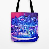 carousel Tote Bags featuring Carousel Merry-G0-Round Pink Purple by Whimsy Romance & Fun