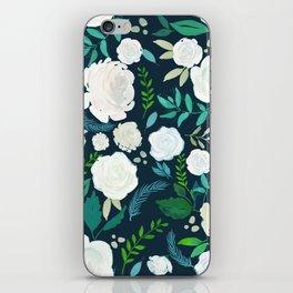 White Roses Pattern Watercolors Illustration iPhone Skin