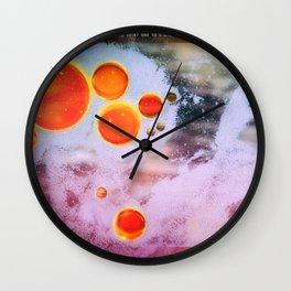 Digital Virus Orange One Bubbles Wall Clock
