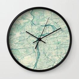 Prague Map Blue Vintage Wall Clock