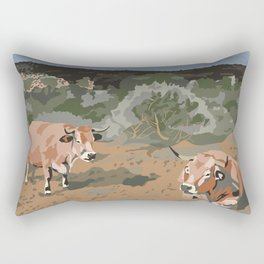 Cows in the Mountains Rectangular Pillow