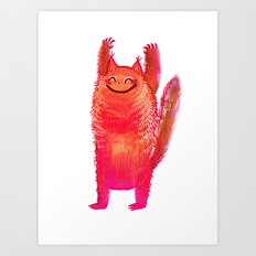 Happy Cat Stretch Art Print