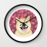 shiba Wall Clocks featuring pixel shiba by desks.lava