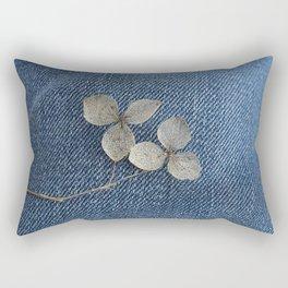 Flowers and Denim Rectangular Pillow