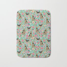 Airedale Terrier floral dog print dog pillow cute airedale terrier floral phone case Bath Mat