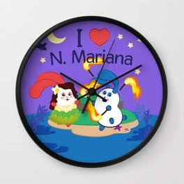 Ernest & Coraline | I love Northern Mariana Islands Wall Clock