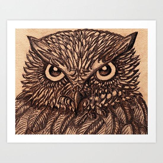 Fierce Brown Owl Art Print