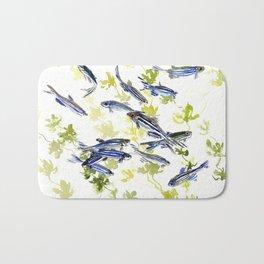 Fish Blue green fish design zebra fish, Danio aquarium Aquatic design underwater scene Bath Mat