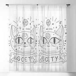 Gothic cat Sheer Curtain