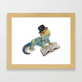 Scholarly Lizard Framed Art Print