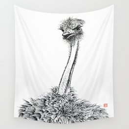 Ostrich staring Wall Tapestry