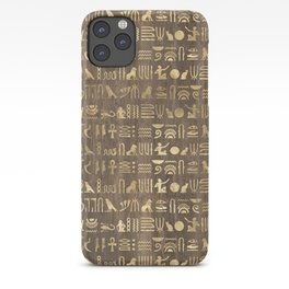 Brown & Gold Ancient Egyptian Hieroglyphic Script iPhone Case