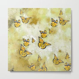 Adorable Butterflies, yellow Metal Print