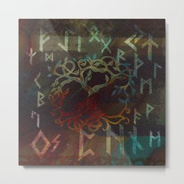 Tree of life  -Yggdrasil - and runes Metal Print