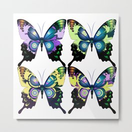 Modern Art Deco Retro Butterflies Metal Print