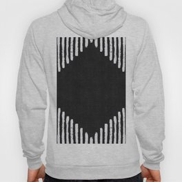 Diamond Stripe Geometric Block Print in Black and White Hoody
