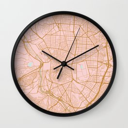Pink and gold Madrid map, Spain Wall Clock