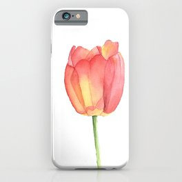 Red and yellow single tulip in watercolor iPhone Case