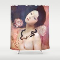 lake Shower Curtains featuring The Serpent Lake by Christian Schloe